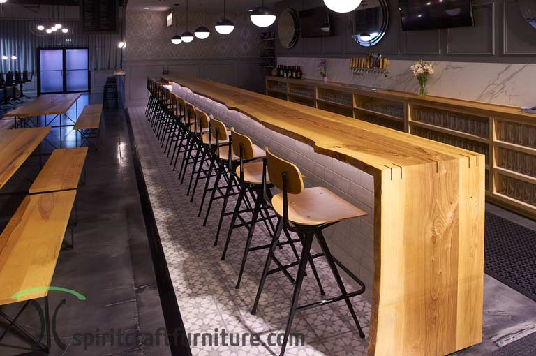 Live Edge Ash Bar Tops And Restaurant Tables At Chicago