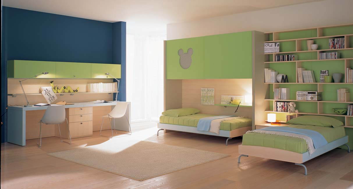 Interior Exterior Plan Kids Bedroom Idea In Green And Blue