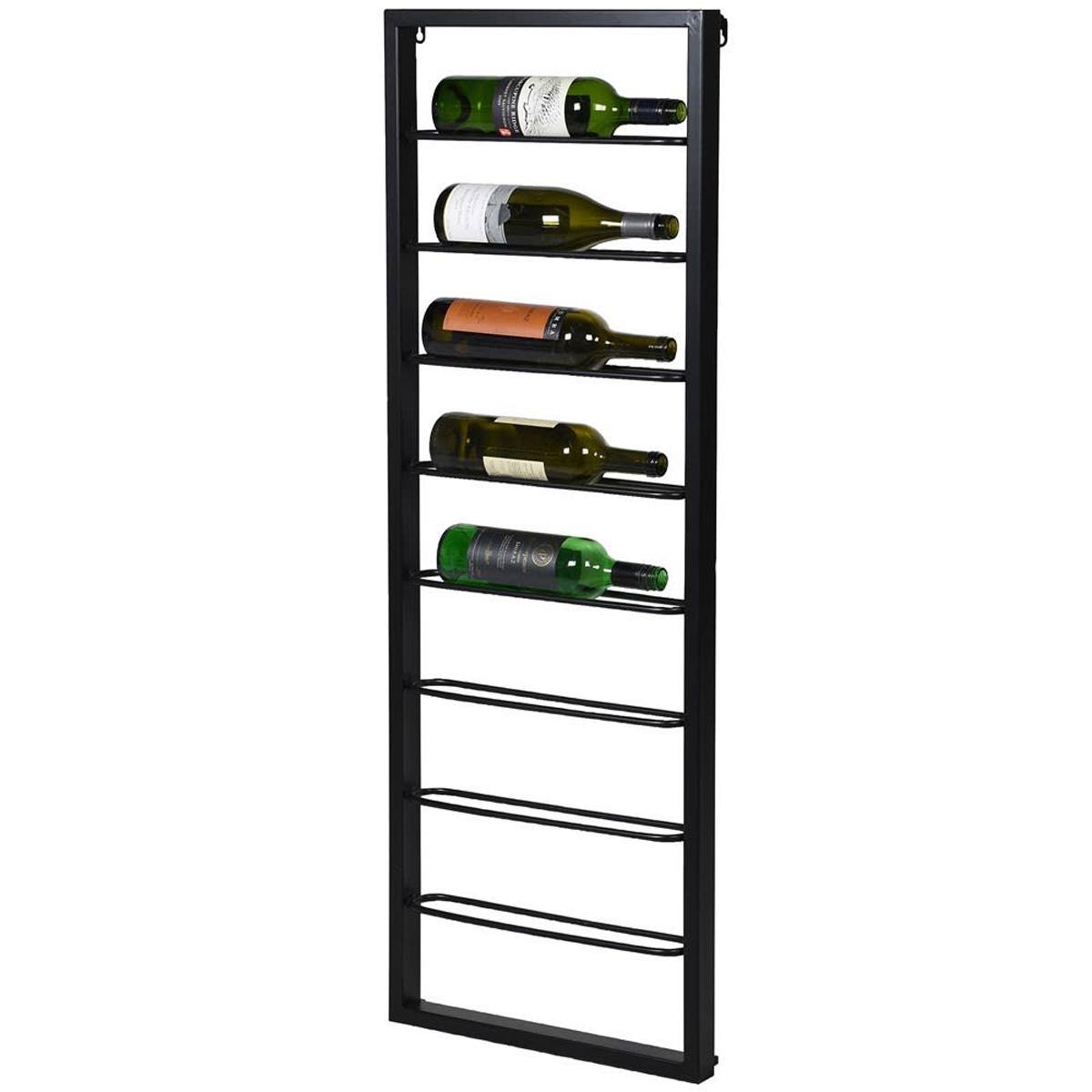 tall black metal wall wine rack