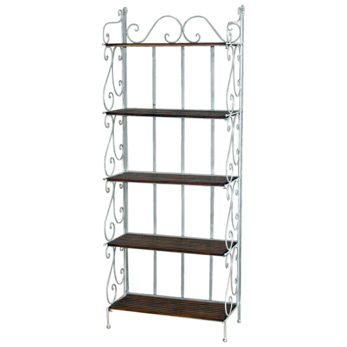 tall white 5 tier bakers rack