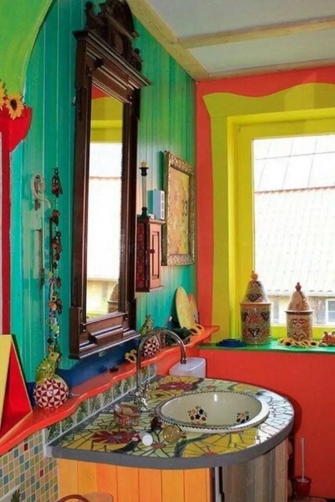 Lively Bohemian Bathroom