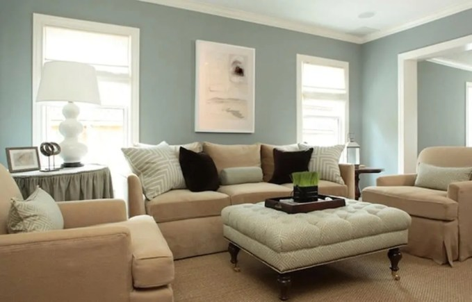 Pastel Blue Traditional Living Room