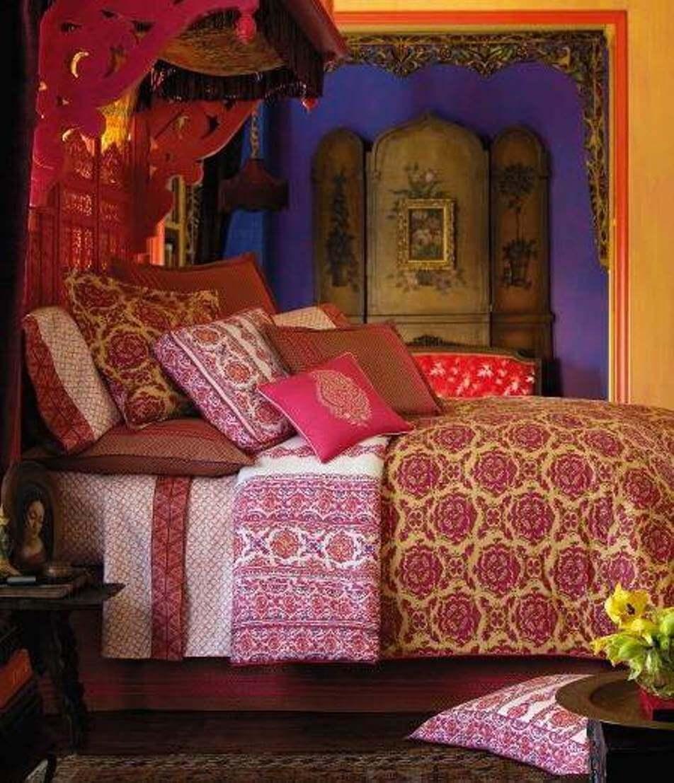 Vibrant bohemian bedroom