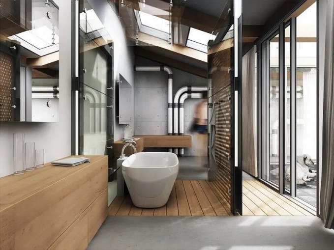 bathroom-fascinating-luxurious-industrial-style-open-space-bathroom-design-ideas-with-cool-wooden-with-clear-glass-divider-nice-wall-mirrors-wooden-cabinet-storage-and-comfortable-white-porcelain-b