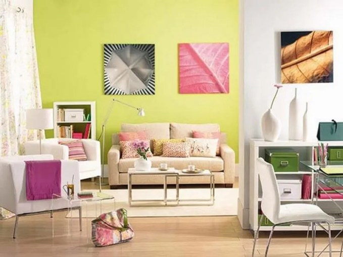 Calm-Color-Combination-for-Colorful-Living-Room-Decorating-Ideas-with-Brown-and-White-Sofa-also-Colorful-Pillow-and-Laminate-Floor-with-White-Sofa-and-Two-Floor-Lamp