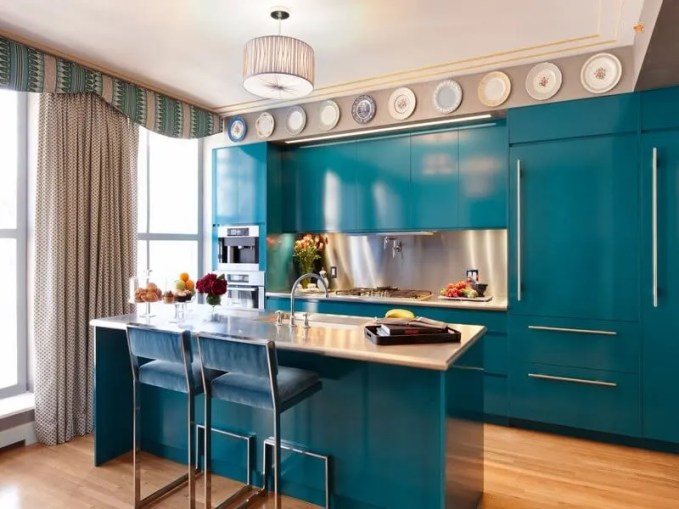 kitchens-amazing-blue-kitchen-cabinet-inspiration-in-glamorous-kitchen-design-with-hardwood-flooring-and-plates-wall-art-10-impressive-blue-kitchen-cabinet-inspirations