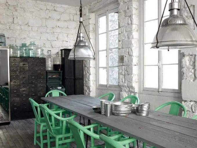 white-brick-dining-room-gray-table-mint-green-chairs