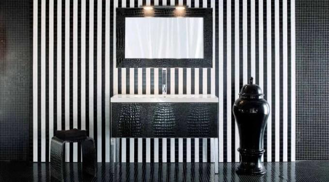 Black Striped Bathroom