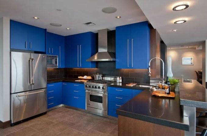 Contemporary Blue Kitchen