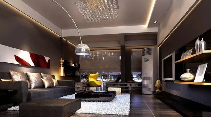 10 Stylish Dark Living Room Interior Design Ideas ... on Living Room:5J0Grrq-Soy= Curtains Design  id=13241
