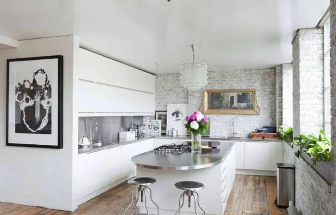 Elegant Kitchen with Brick Walls