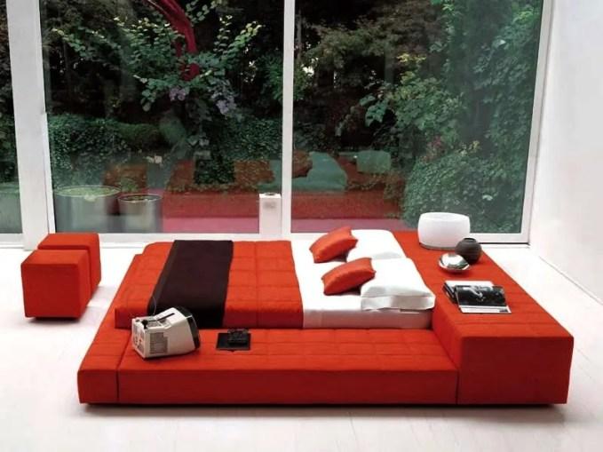 Glass Walls Red Bedroom