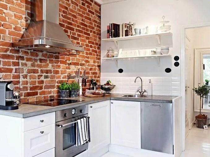 Scandinavian Kitchen with Brick Wall
