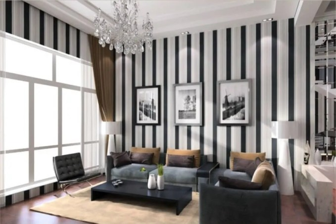 Splendid Living Room with Striped Walls