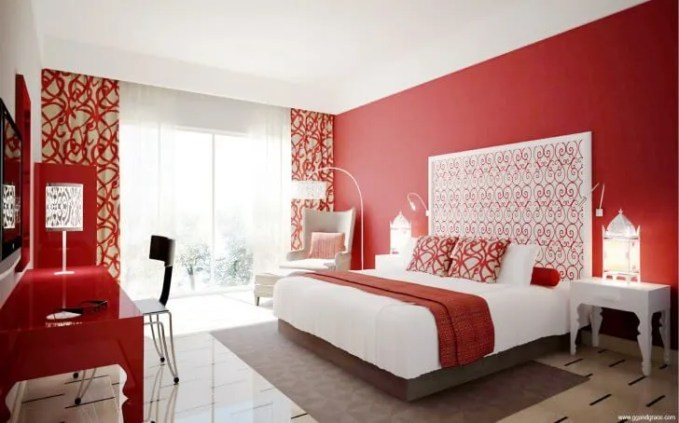 Stylish Red Bedroom