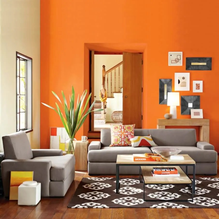 Orange And Yellow Living Room