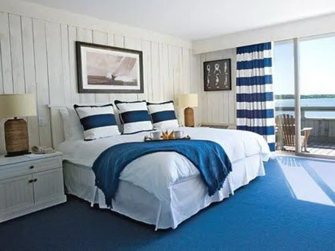 White and Blue Beach Bedroom