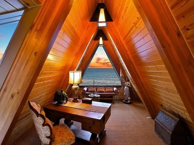attic home office with a view