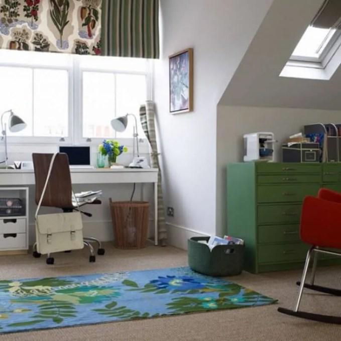 vibrant attic home office