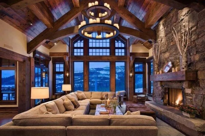 Family Living Room with Exposed Beams