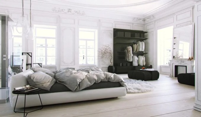 Parisian-Apartment-soft-white-bedroom-with-natural-light-and-black-accents