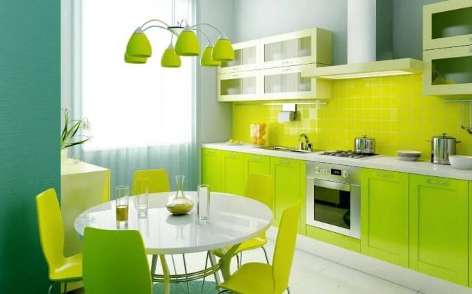 Sleek Design Green Dining Room