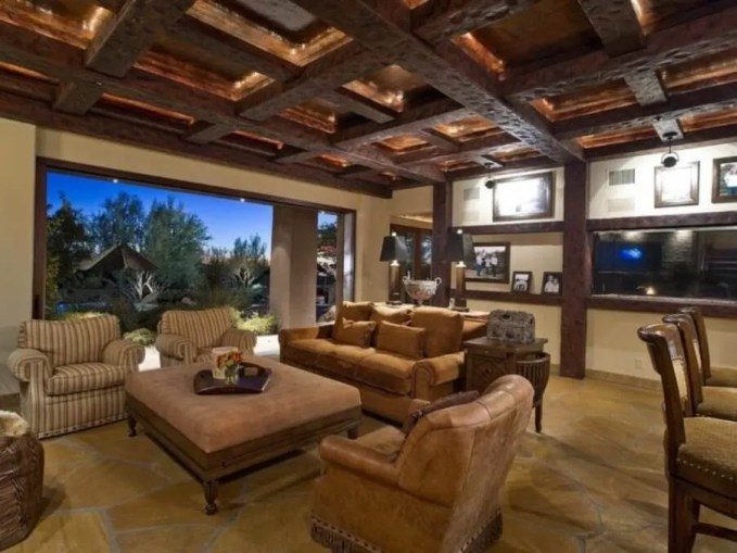 Spacious Living Room with Roof Beams