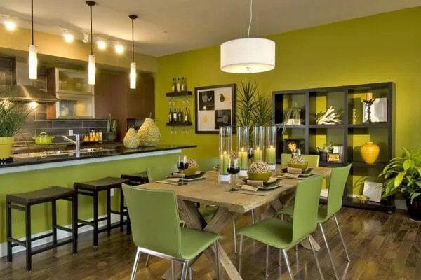 Trendy, Bold Green Dining Room