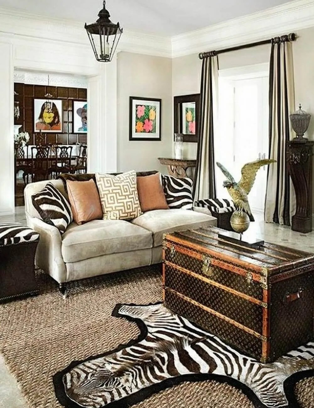 Zebra print living room decor modern house for Zebra decorations for home