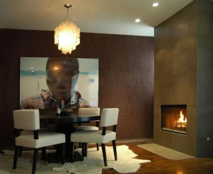 Amazing Dining Room with Fireplace
