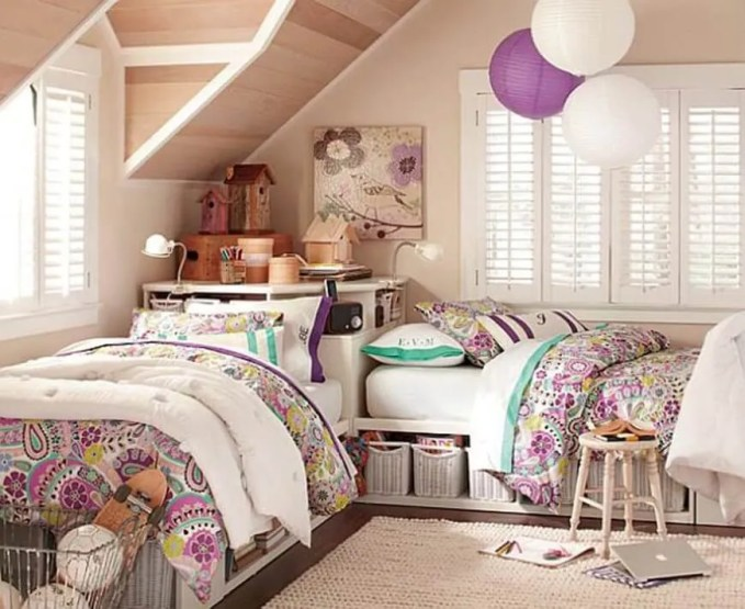 Shared Teenage girl bedroom idea