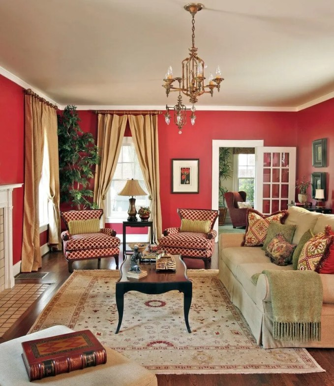 Traditional Red Living Room