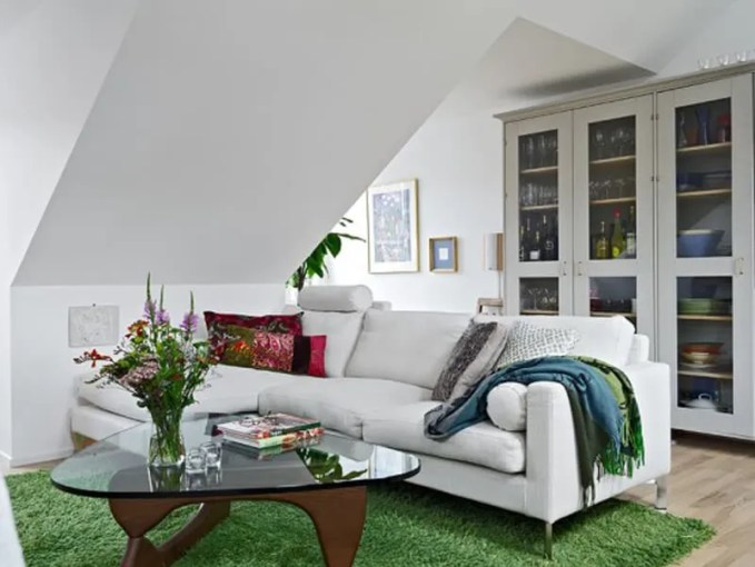 Attic Green and White Living Room