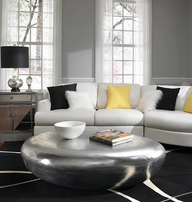 Classy Gray and Yellow Living Room
