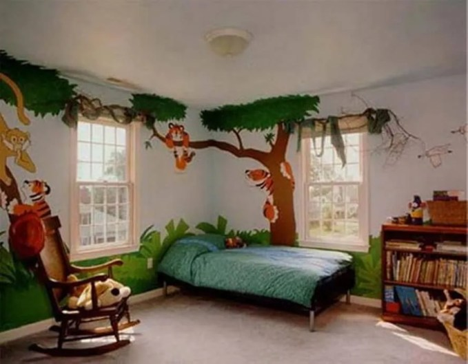 Colorful Jungle Inspired Kid's Bedroom