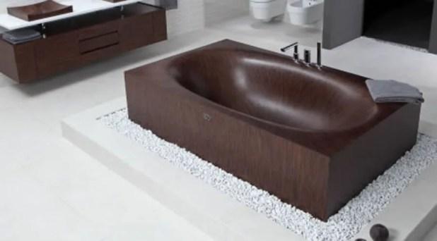 Dark Wooden Bathtub