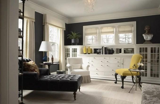 Elegant Gray and Yellow Living Room