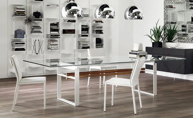 Glass-top-dining-table-with-white-lacquered-steel-legs
