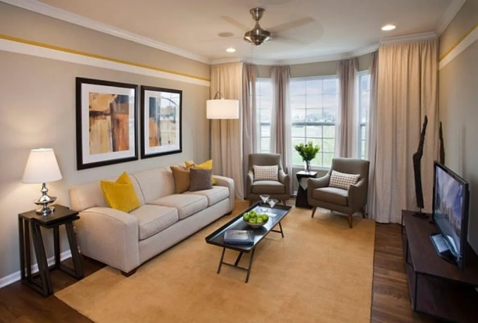 Light Gray and Yellow Living Room