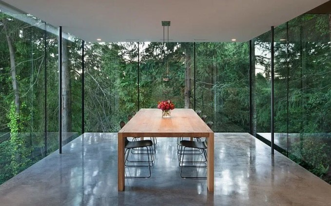 Minimalist Dining Room with Glass Wall