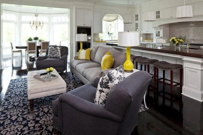 Open Plan Gray and Yellow Living Room