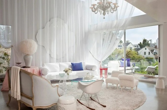 White Chic Feminine Living Room