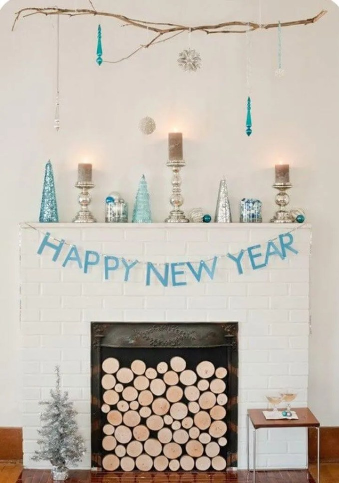 Blue And Silver New Year Mantel