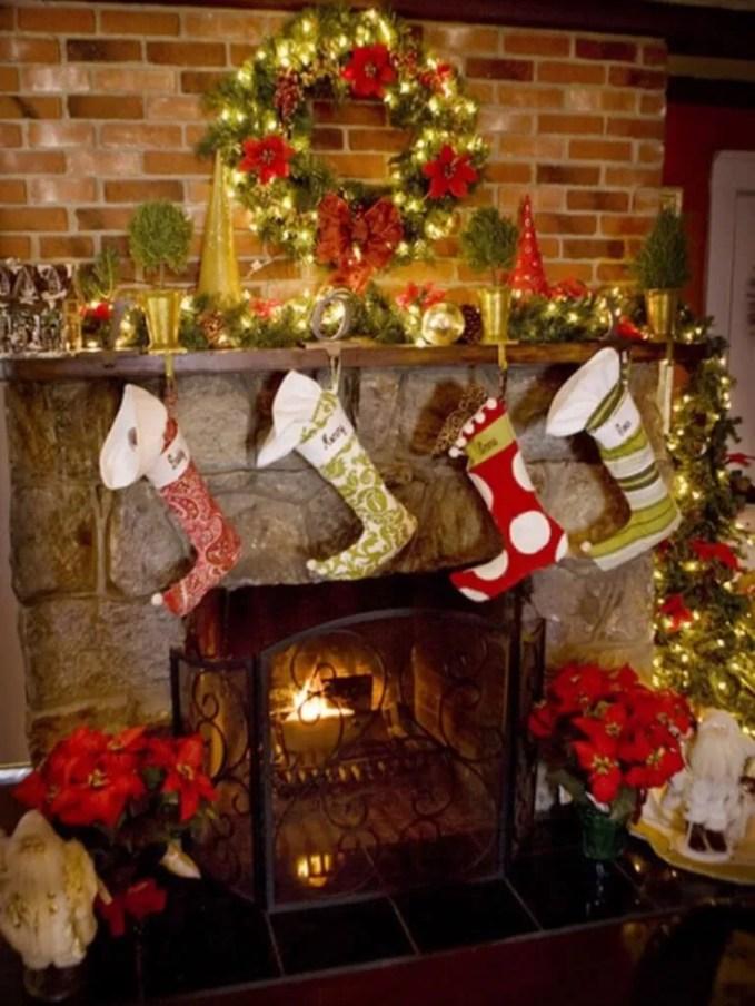Festive Christmas Fireplace Mantel
