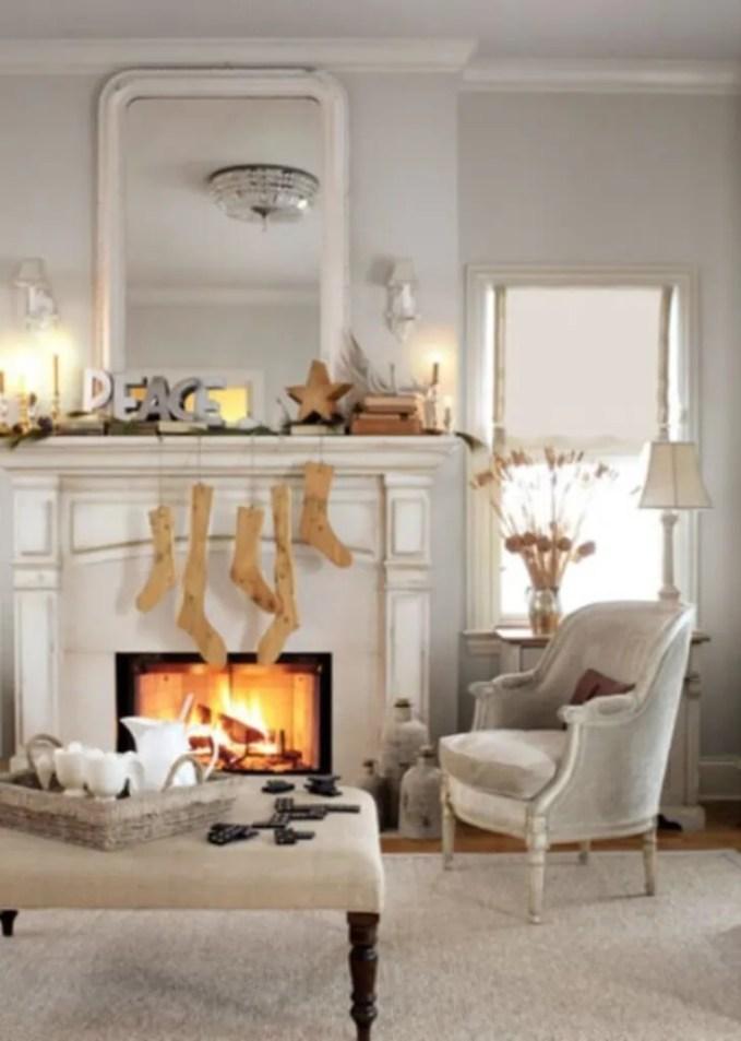 Rustic Christmas Fireplace Mantel