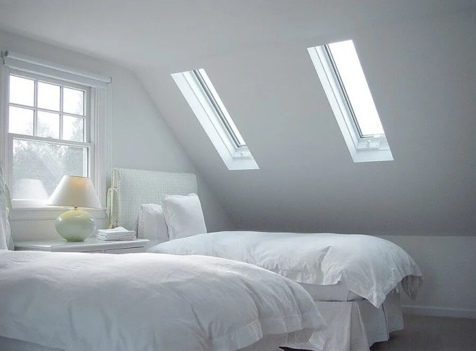 All White Bedroom with Skylights
