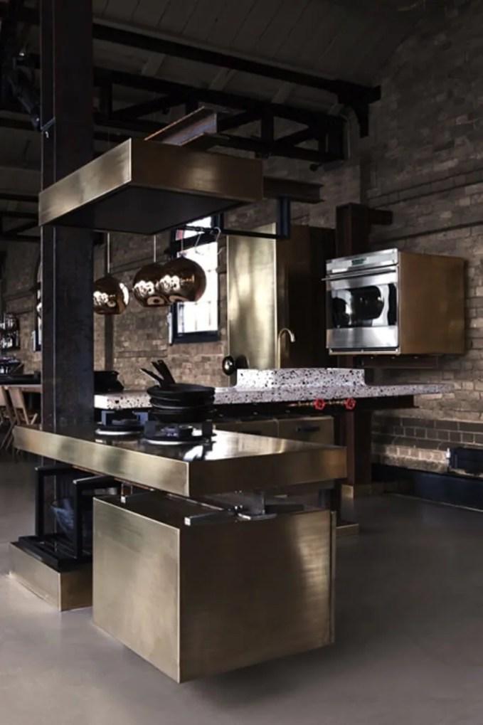 Amazing Kitchen with Brass kitchen island