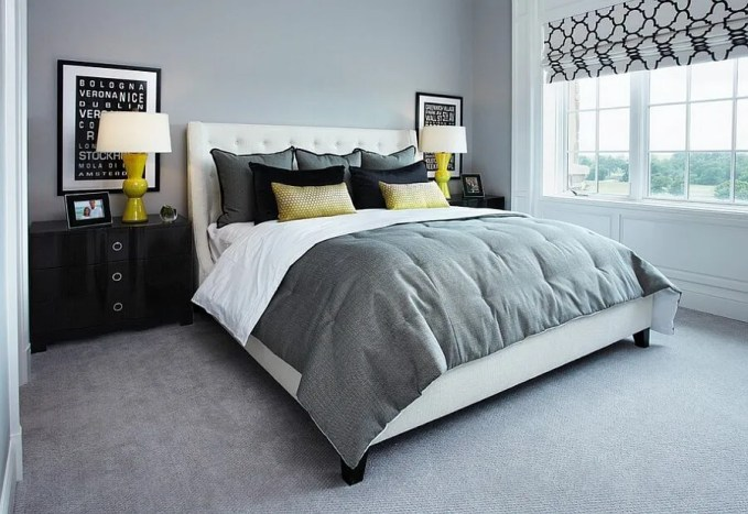Contemporary Gray and Yellow Bedroom