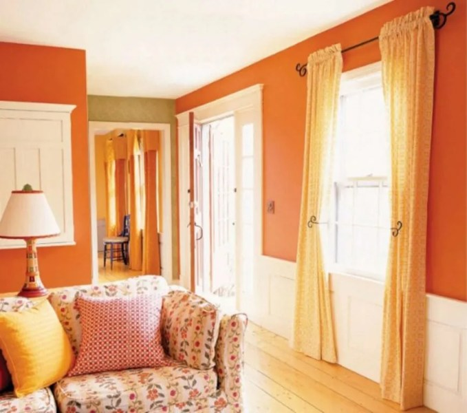 Cozy Tangerine and White Living Room
