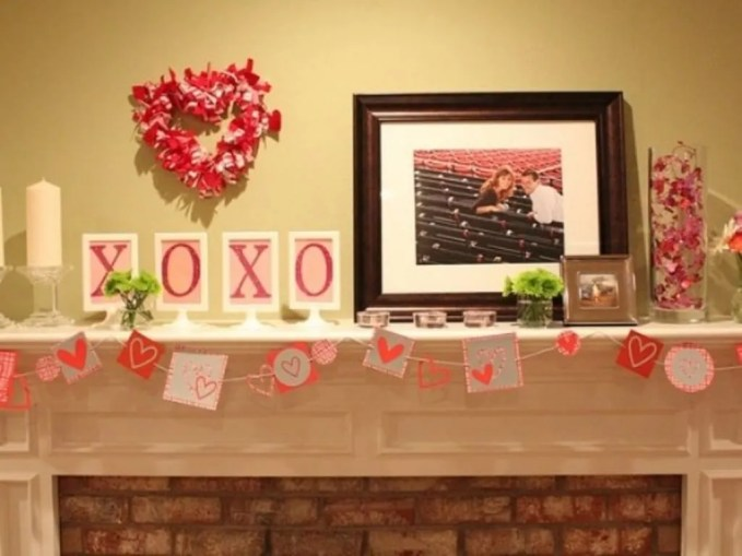 Cute and Crafty Valentine's Mantel